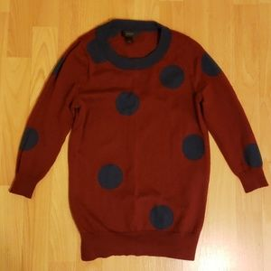 J Crew Burgundy Navy Blue Polka Dot Tippi Sweater